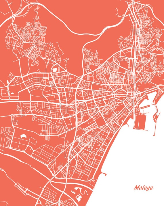Malaga Street Map Print Map of Malaga City Street Map Spain