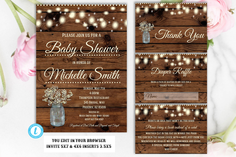 Baby Shower Invitation Template Set, Flower Baby Shower Invitation ...