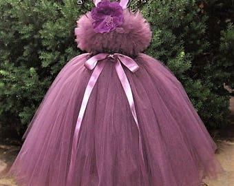 AUBERGINE TUTU DRESS - Eggplant Purple Dress - Flower Girl Gown - Pageant Girl Dress - First Birthday Tutu - Purple Tutu Dress - Plum Dress