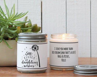 Love Kisses and Dandelion Wishes Candle Gift - Thinking of You Gift | Best Wishes Gift | Celebration Gift | Get Well Gift | Scented Candle
