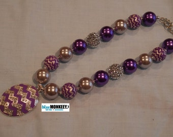Purple Chevron Easter Egg Chunky Bead Necklace - RTS