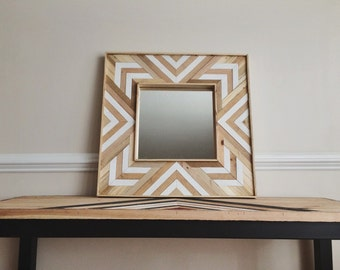 Reclaimed White/Natural Wood Wall Mirror