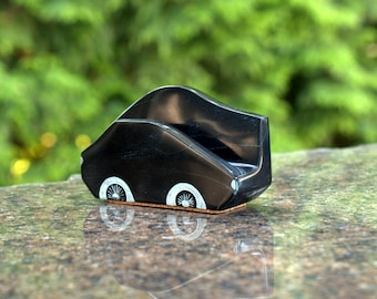 Desktop stone business card holder black Chlorite natural stone office decoration