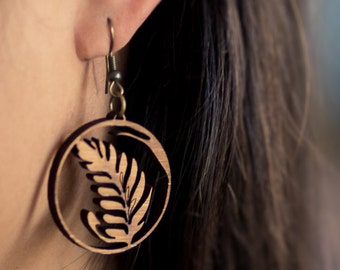 Coffee Latte Art Leaf Rosetta Earring - made of bamboo