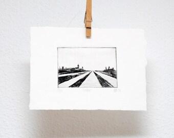 Polder, drypoint, hand printed, original print, wall art, Dutch landscape print