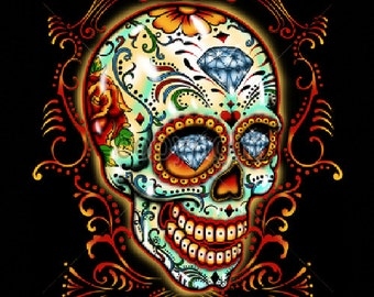 Sugar Skull With Pinstripes Day of the Dead WOMENS T Shirt 16552