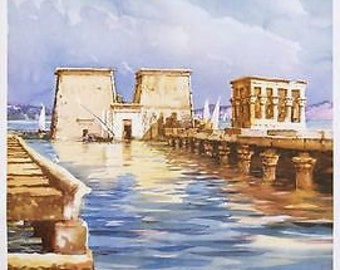Cool Egypt Philae Temple Aswan Tourism Poster A3 Print