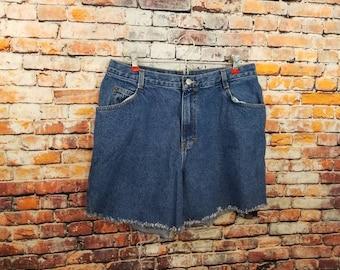 1990's Dark wash Gitano High Waist Size 16 Cut Offs / Plus Size Shorts / Vintage Plus Size / Item#114