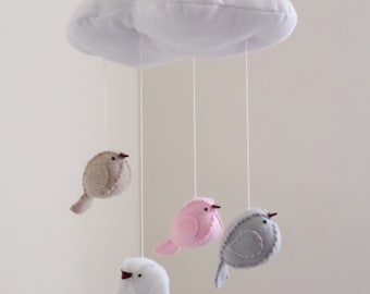 Nursery mobile pink and grey decor - bird mobile - cloud mobile
