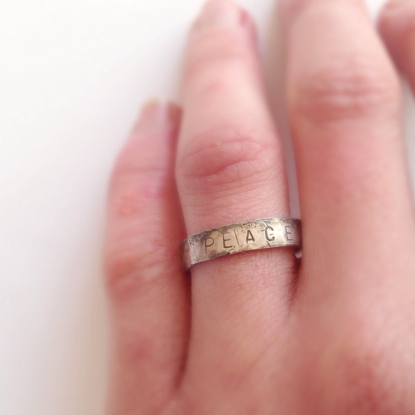 Peace Ring - Oxidised Silver Ring - Distressed Rustic Texture