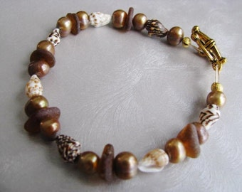 Sea Glass Bracelet - Amber Brown Seaglass - Freshwater Pearls and Shells - Beach Glass Jewelry