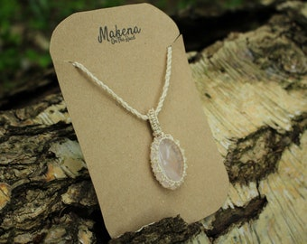 Rose Quartz Macrame Wrapped Pendant - Attract and Keep Love
