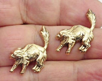 set of 6 Brass Stamping,CAT Jewelry Making,Vintage Jewelry Findings made in USA /7Z