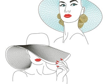 Beautiful female face - female silhouette - woman in hat - girl - very beautiful girl : Machine embroidery design