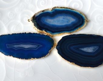 Double Bail Blue Agate Slice, Druzy, Drusy,