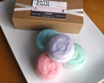 MACAROON SOAP - French Macaron, Mothers Day Soap Gift, Easter Soap, Bridesmaid Gift - 4 Piece Macaroon Soap Gift
