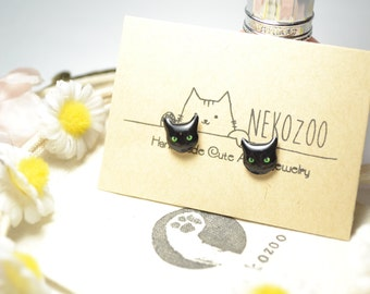 Black CAT cute Jewelry Earrings, tiny jewelry, handmade items, Unique Gift