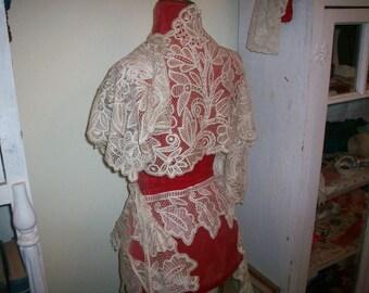 Antique lace shawl Maltese 1800s antique lace