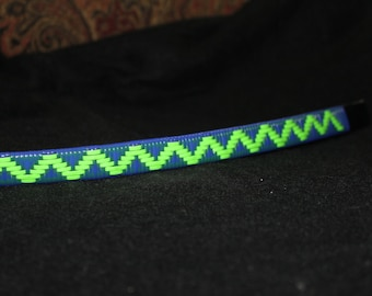 Decorative Horse Browband, Royal Blue and Lime Green