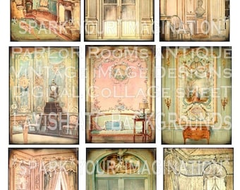 LaViSH ViCToRiaN PaRLoR RooMs queen curtains original digital collage sheet atc aceo background papers altered art handmade greeting card making paper supplies hang tags cards journals books mixed media zne effa