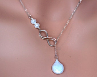 Double Infinity Necklace - Y Necklace - Sterling Silver Infinity Lariat Necklace - infinity necklace -  infinity knot - infinity symbol