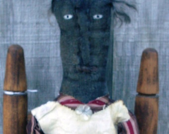 Grungy Black Stick Doll