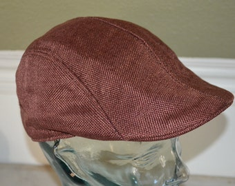 "Vintage Large Brown Drivers Cap Hat (58cm, 23"")"