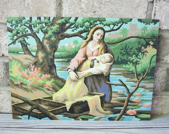 Vintage paint by number pbn religious baby Moses basket floating in Nile river Pharaoh's daughter vintage painting art