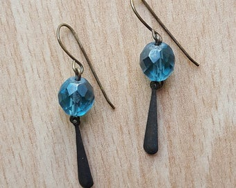 Teal and Brass Dangle Earrings - READY TO SHIP