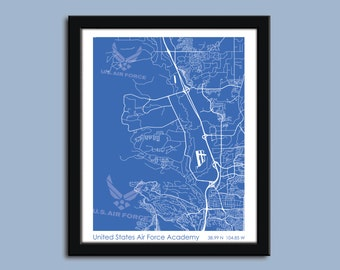 Air Force Academy, Air Force Academy wall art poster, US Air Force Academy decorative map