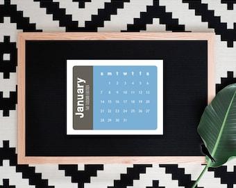 2018-2019 Printable Desk Calendar - Modern Color Block Monthly Calendar - Small Decorative Desk Calendar - 2019 Instant Download