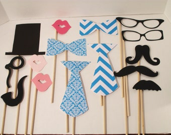 Blue Chevron Photo Booth Props - Wedding Photo Props