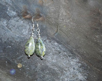 Irish Connemara Marble teardrop bead earrings, Irish gift, Sterling Silver ear wires - Gift boxed - gift from Ireland