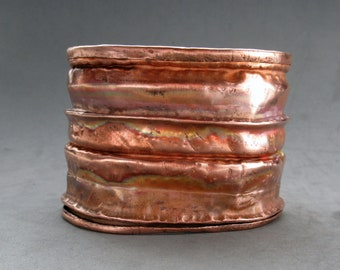 Fold Formed Hammered Copper Cuff Bracelet, Size Medium