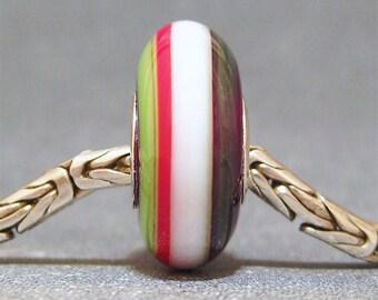 Red, White & Green Handmade Stripe Lampwork Glass Bead Euro Charm Christmas Ribbons II