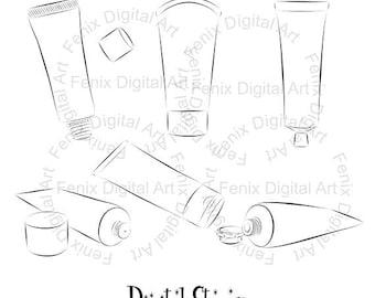Digital Stamp,Clipart,Line art,Fashion Hand cream,Hand cream graphics,make up,Digi stamp,digistamp,fashion Illustration INSTANT DOWNLOAD