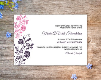 Printable Wedding Favor Donation Card Template | Watercolor Floral Favor Donation | Editable Microsoft Word & Photoshop Template | WS-009