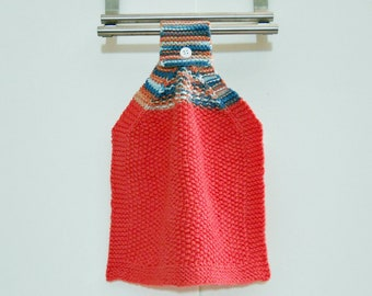 Hanging Kitchen Towel In Coral, 100% Cotton, Knit Hand Towel, Kitchen  Accessories