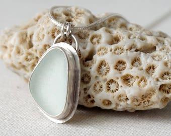 Clear Sea Glass Pendant - Natural Sea Glass, Genuine Sea Glass, Sea Glass Necklace, Sea Glass Jewelry, Beach Glass, Beach Glass Necklace