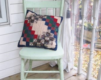 Patchwork Decorative Pillowcase, Pillow Cover, Mini Print, Shabby Cottage, Rustic Home,   by mailordervintage on etsy