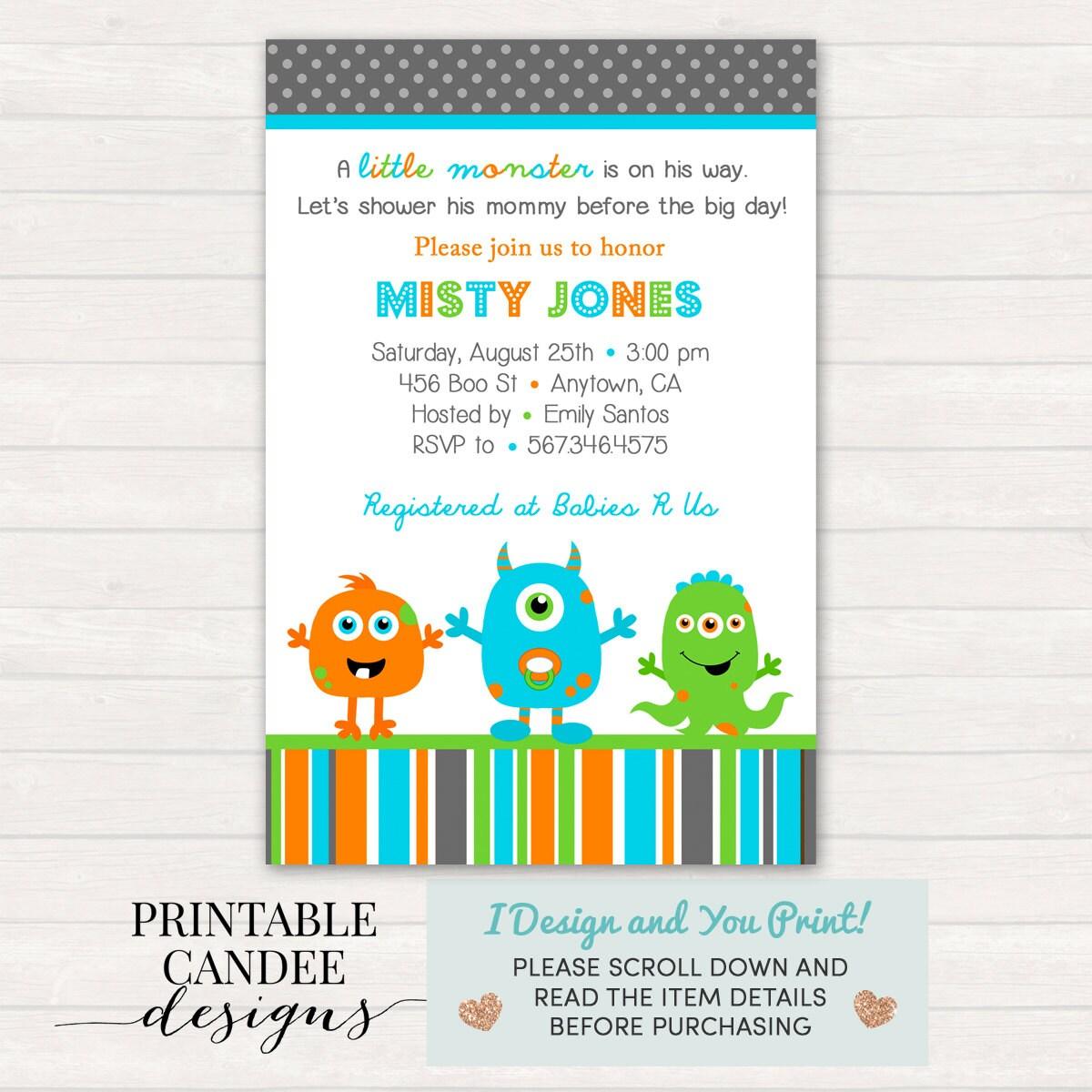 Monster Baby Shower Invitation Monster Baby Shower Monster