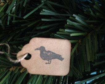 50 Tiny Crow Stamped Hang Tags Coffee Stained Halloween Tags Strung Tags