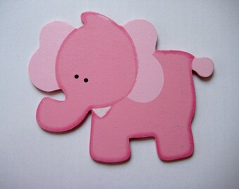"""Pink Elephant Wooden Animal Ornaments for Jungle Themed, Baby Shower Diaper Cake Centerpieces, Baby Room Decor 5"""" x 4"""", 3 or 6 pieces"""