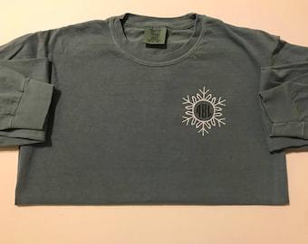 Snowflake Winter Monogrammed Comfort Colors Long Sleeve T-Shirt