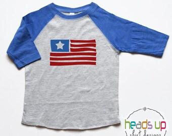 America Fourth of July Baby Bodysuit - Flag Toddler Raglan Shirt - July 4th Kids shirt - 4th of July Tee - Trendy Patriotic tshirt - USA