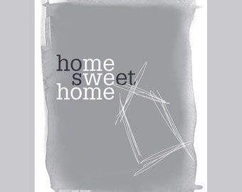 home sweet home print / smokey gray