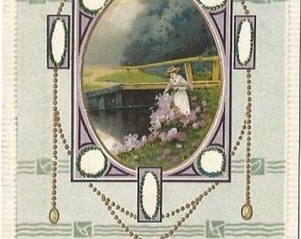 Victorian Woman creating a Pathway of Roses Along a River or Creek Wooden Bridge Celadon Green Background Art Noveu Pattern Vintage Postcard