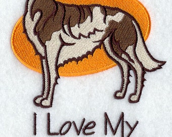 I Love My Borzoi Embroidered Flour Sack Hand/Dish Towel
