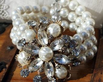 OOAK Wire Wrap Pearl and Rhinestone Bracelet