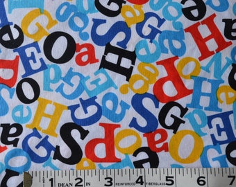 Item 296, 100% Cotton, Robery Kaufman, Celebrate Seuss, By the Yard, Red Blue Yellow and Black Alphbet
